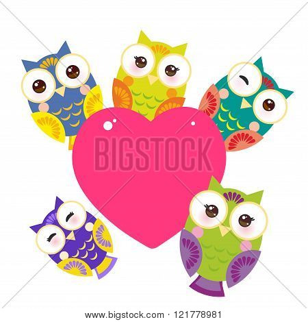 set bright colorful owls Card design with a funny animal with pink heart on a white background. Vect