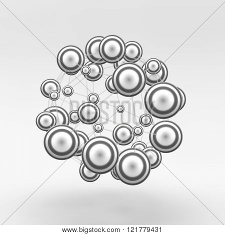 3d abstract spheres composition. Futuristic technology style. Chemical Compounds. Vector illustration. Can be used for presentations and design.
