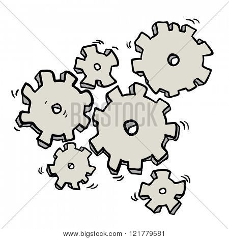 cartoon illustration of cogs and gears