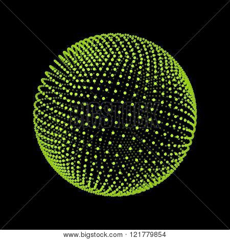 The Sphere Consisting of Points. Abstract Globe Grid. Sphere Illustration. 3D Grid Design. 3D Technology Style. Networks - Globe Design.Technology Concept. Vector Illustration.