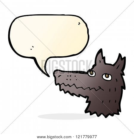 cartoon wolf head with speech bubble
