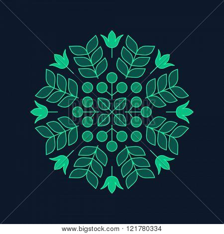 Vector Floral Element. Vector Printing for Natural Products. Linear Style. Abstract vector illustration.
