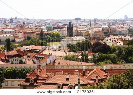 Houses with traditional red roofs in Prague. Prague (Praha) is capital and largest city of Czech Republic