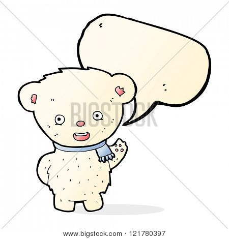 cartoon polar bear waving with speech bubble