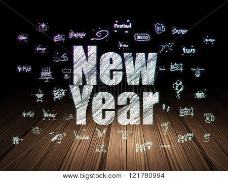 Entertainment, concept: New Year in grunge dark room