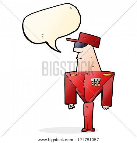 cartoon guard with speech bubble