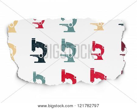 Science concept: Microscope icons on Torn Paper background