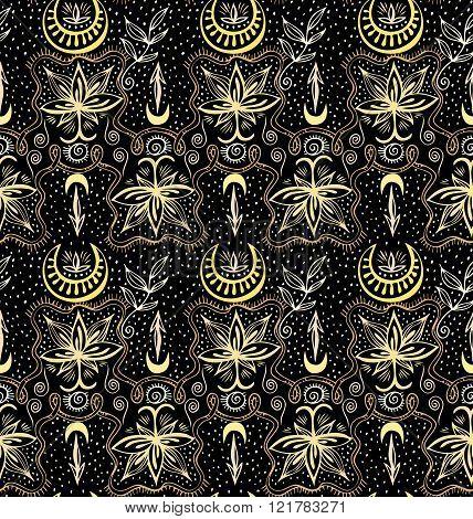Golden Lotuses Seamless Crescent Pattern