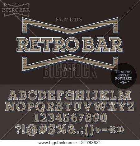Vintage emblem for retro bar. Vector set of letters, numbers and symbols.