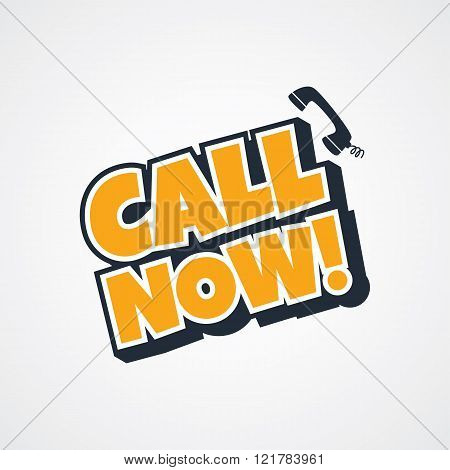 call now sign theme vector art illustration