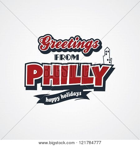 philadelphia vacation greetings theme vector art illustration