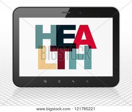 Medicine concept: Tablet Pc Computer with Health on  display