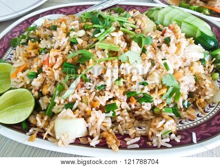 Close up of Fried rice with shrimp