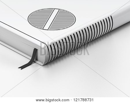 Health concept: closed book, Pill on white background