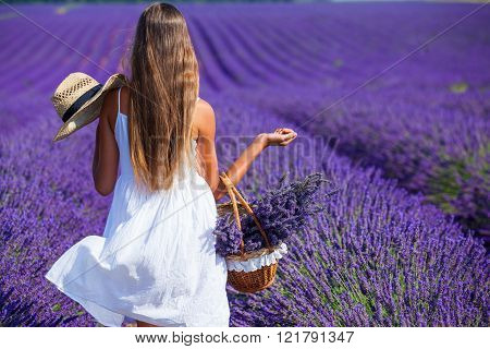 Young girl in the lavander fields