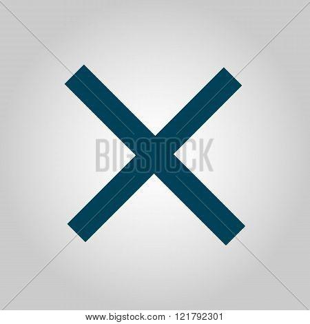 Cancel Icon, On Grey Background, Blue Outline, Large Size Symbol