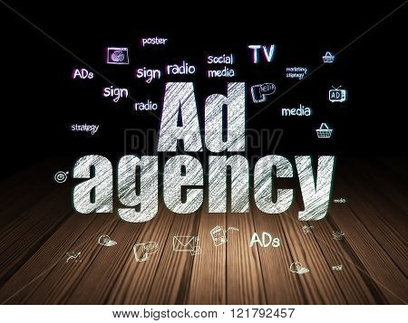 Advertising concept: Ad Agency in grunge dark room