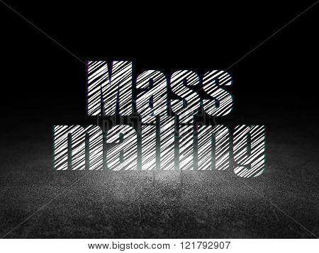 Marketing concept: Mass Mailing in grunge dark room