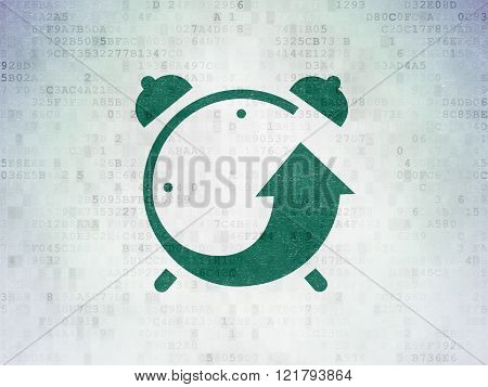 Time concept: Alarm Clock on Digital Paper background