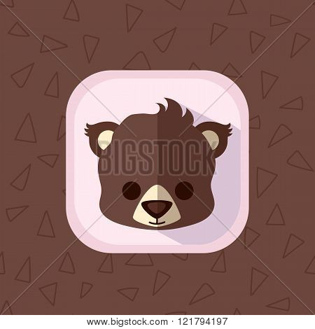 Little Cute Baby Brown Bear Flat Icon.