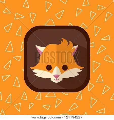 Little Cute Forest Baby Fox Flat Icon