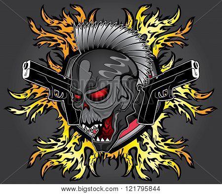 halloween dead punk skull glock pistols fire flames background