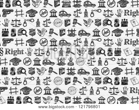 Grunge background: White Brick wall texture with  Hand Drawn Law Icons