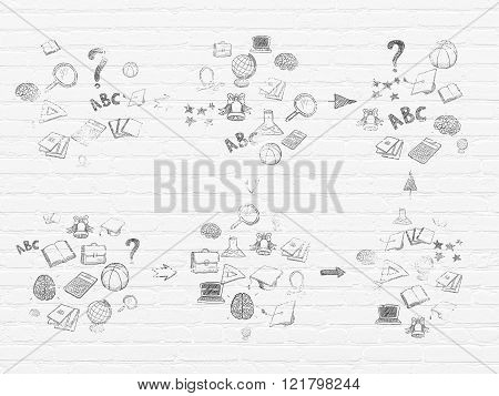 Grunge background: White Brick wall texture with Painted Hand Drawn Education Icons