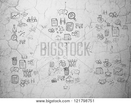 Grunge background:  wall texture with Painted Hand Drawn Business Icons