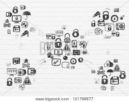 Grunge background: White Brick wall texture with Painted Hand Drawn Security Icons