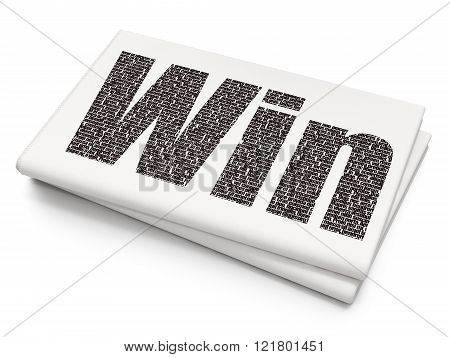 Finance concept: Win on Blank Newspaper background