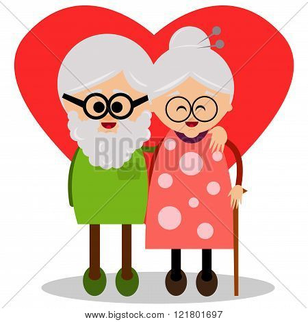 Cute grandmother and grandfather.