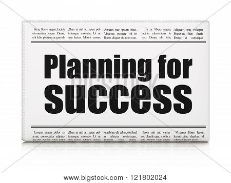 Finance concept: newspaper headline Planning for Success
