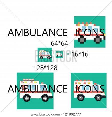Ambulance car pixel perfect icon set.