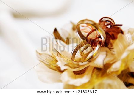 Two wedding rings, sitting on their decorated pillow, waiting for the moment when they will seal the union of  the lovers.