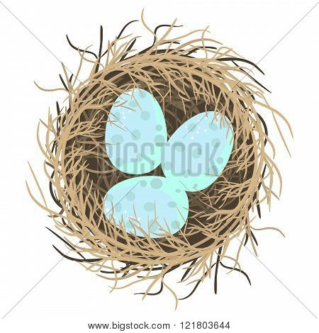 Easter eggs in nest vector illustration on white.