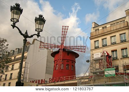 Paris, France - November 27, 2009: The Moulin Rouge - A Famous Cabaret, Located In Paris District Of