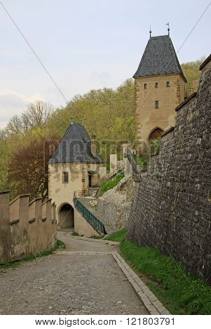 Karlstejn, Czech Republic - April 30, 2013: Entrance Towers Of Karlstein Castle, Karlstejn, Czech Re