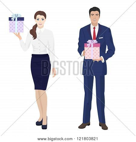 Young handsome businessman and beautiful busineswomen secretary with present gift box.