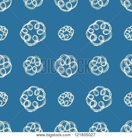 Hand Drawn Brush Scribble Flowers Seamless Pattern, Vector Illustration