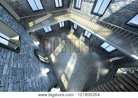 Architecture visualization of a Loft interior. 3D rendered Illustration.
