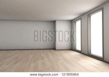 A empty residential room of a available apartment or house. 3D