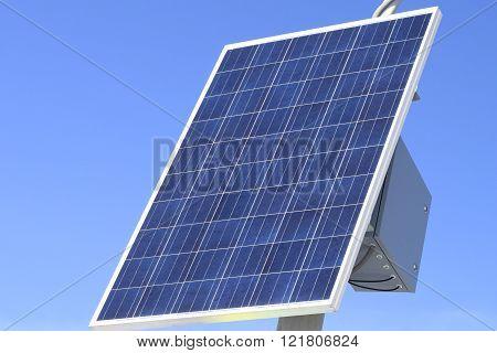 Solar panels on bright blue sky background.
