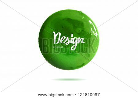 Round Green  Banner Painted With Paint