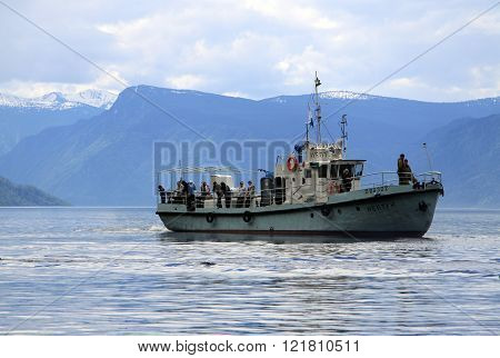 Altai, Russia - June 13, 2013: A Touristic Boat On Teletskoye Lake, Altai Mountains