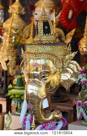 Hua Khon of Genesha (Thai Traditional Mask) for dance drama or Khon that display in tourism festival in Thailand.