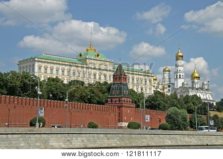 Moscow, Russia - June 11, 2010: View Of The Grand Kremlin Palace And The Ivan The Great Belltower. M