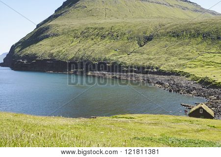 Green landscape on Faroe Islands.