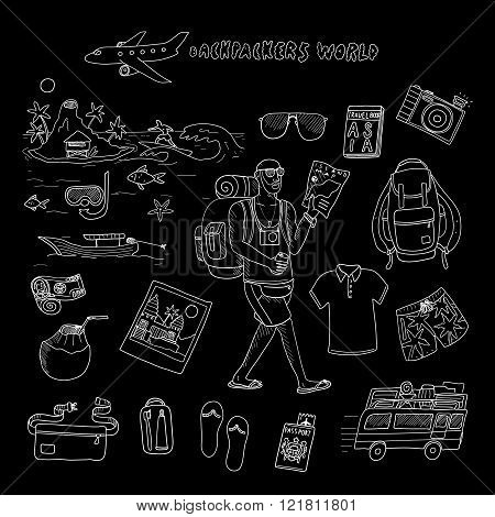 Backpackers world. Travel. Doodle set in vector isolated on a black background.