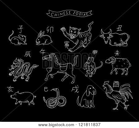 Chinese zodiac in vector isolated  on a black background.